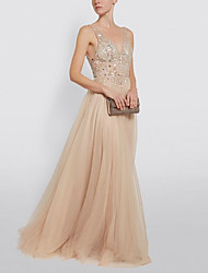 cheap -A-Line Open Back Prom Dress Plunging Neck Sleeveless Floor Length Tulle with Beading 2020