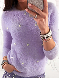 cheap -Women's Solid Colored Long Sleeve Pullover Sweater Jumper, Round Neck Black / White / Purple S / M / L