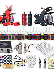 cheap -Tattoo Machine Starter Kit - 2 pcs Tattoo Machines with 20 x 5 ml tattoo inks, Safety, Professional, Easy to Install Mini power supply Case Not Included 2 alloy machine liner & shader