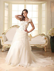 cheap -A-Line Strapless Chapel Train Organza / Satin / Tulle Strapless Made-To-Measure Wedding Dresses with Beading / Embroidery 2020