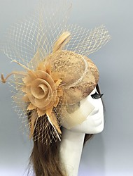 cheap -Feather / Net Fascinators / Hats / Headwear with Feather / Lace / Flower 1 Piece Wedding / Special Occasion Headpiece