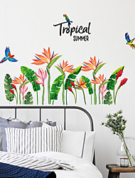 cheap -SK9306 bird of paradise green leaf plant living room study bedside corner TV wall decoration wall sticker