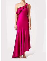 cheap -Sheath / Column One Shoulder Asymmetrical Stretch Satin Bridesmaid Dress with Ruching / Pleats