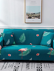cheap -Green Floral Print Dustproof All-powerful Slipcovers Stretch Sofa Cover Super Soft Fabric Couch Cover with One Free Pillow Case
