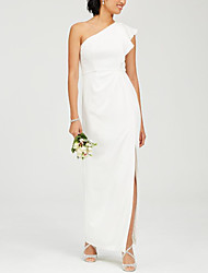 cheap -Sheath / Column One Shoulder Ankle Length Jersey Elegant Formal Evening Dress with Side Draping / Split Front / Ruffles 2020