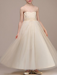 cheap -A-Line Ankle Length First Communion Flower Girl Dresses - Chiffon Sleeveless Plunging Neck with Ruching