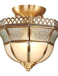 cheap -1-Light Lightinthebox 24 cm Flush Mount Lights Copper Glass Novelty Brass Artistic / Traditional / Classic 220-240V