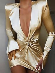 cheap -Women's Mini Silver Dress Sheath Solid Colored Deep V S M Slim