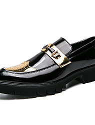 cheap -Men's Formal Shoes PU Spring & Summer / Fall & Winter Casual / British Loafers & Slip-Ons Color Block Black / Gold / Party & Evening