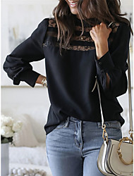 cheap -Women's Daily Weekend Street chic T-shirt - Solid Colored Lace Black