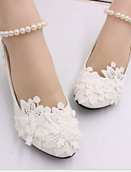 cheap -Women's Wedding Shoes Stiletto Heel Pointed Toe PU Winter White