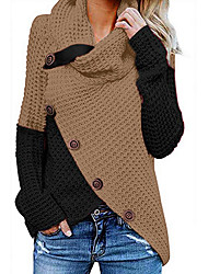 cheap -Women's Color Block Long Sleeve Cardigan Sweater Jumper, Turtleneck Blue / Red / Gray S / M / L