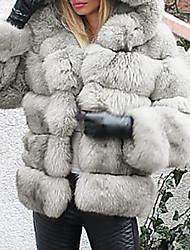 abordables -Femme Soirée / Quotidien Basique Automne hiver Normal Manteau de fausse fourrure, Couleur Pleine Capuche Manches Longues Fausse Fourrure Gris