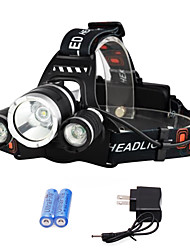 cheap -Headlamps Headlight Rechargeable 3000 lm LED 3 Emitters 4 Mode with Batteries and Charger Rechargeable Strike Bezel Camping / Hiking / Caving Traveling Emergency EU Plug AU Plug UK Plug US Plug Black
