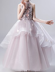 cheap -Ball Gown Ankle Length Flower Girl Dress - Polyester Sleeveless High Neck with Appliques / Ruffles