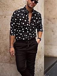 cheap -Men's Polka Dot Shirt Daily Black / Long Sleeve