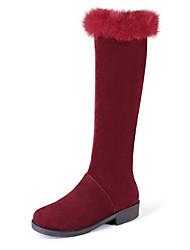 cheap -Women's Boots Low Heel Round Toe Suede Knee High Boots Sweet Fall & Winter Black / Dark Red / Almond