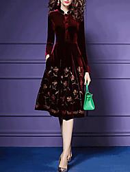 cheap -Women's Velvet Red Navy Blue Dress A Line Floral Stand S M