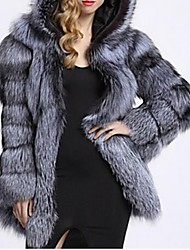 cheap -Women's Fur Coat Regular Solid Colored Daily White Black Silver S M L XL