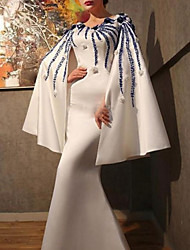 cheap -Sheath / Column Floral Formal Evening Dress Jewel Neck Long Sleeve Floor Length Satin with Beading Appliques 2020