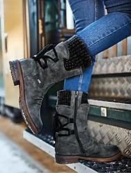 cheap -Women's Boots Fall & Winter Flat Heel Round Toe Daily PU Mid-Calf Boots Purple / Khaki / Blue
