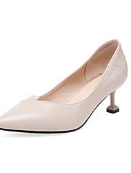 cheap -Women's Heels Kitten Heel Pointed Toe Faux Leather Vintage / Minimalism Summer Black / Beige