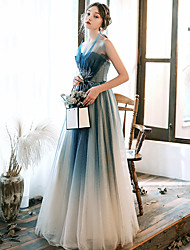 cheap -A-Line Elegant Turquoise / Teal Prom Formal Evening Dress Strapless Sleeveless Floor Length Tulle with Beading Appliques 2020