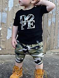 cheap -Toddler Boys' Clothing Set Short Sleeve Black Print Cotton Basic
