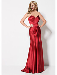 cheap -Sheath / Column Sweetheart Neckline Sweep / Brush Train Stretch Satin Open Back Formal Evening Dress 2020 with Ruched