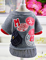 cheap -Dog Cat Coat Sweater Jumpsuit Leisure Simple Style Outdoor Winter Dog Clothes Red Gray Costume Polyester Plush Fabric Mixed Material XS S M L XL XXL