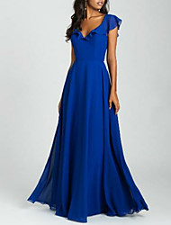 cheap -A-Line Plunging Neck Floor Length Chiffon Bridesmaid Dress with Ruffles / Pleats