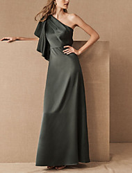 cheap -Sheath / Column One Shoulder Floor Length Satin Bridesmaid Dress with Ruffles
