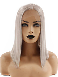 cheap -Synthetic Lace Front Wig Straight Gaga Middle Part Lace Front Wig Short Grey Synthetic Hair 14-16 inch Women's Heat Resistant Easy dressing Hot Sale Dark Gray / Glueless