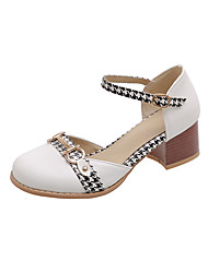 cheap -Women's Heels Low Heel Round Toe PU Casual / Sweet Spring & Summer Black / White / Pink / Color Block