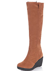 cheap -Women's Boots Wedge Heel Round Toe Suede Mid-Calf Boots Winter Black / Brown / Almond
