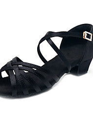 cheap -Girls' Dance Shoes Satin / Faux Leather Latin Shoes / Salsa Shoes Rhinestone / Buckle / Crystals Heel Thick Heel Customizable Black / Dark Brown / White
