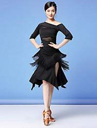 cheap -Women's Flapper Girl Latin Dance Skirt Party Costume Tassel Flapper Costume Tulle Polyester Black Burgundy Skirts Top