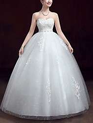 cheap -A-Line Sweetheart Neckline Floor Length Polyester Strapless Made-To-Measure Wedding Dresses with Appliques 2020