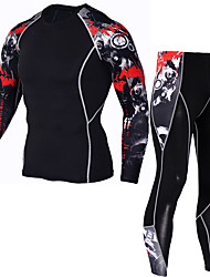 cheap -JACK CORDEE Men's Long Sleeve Cycling Jersey with Tights Compression Suit Winter Fleece Polyester Black Bike Clothing Suit Thermal / Warm Breathable Quick Dry Sweat-wicking Sports Mountain Bike MTB