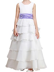 cheap -A-Line Floor Length Flower Girl Dress - Polyester Sleeveless Jewel Neck with Ruching