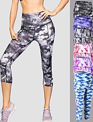 cheap -Women's High Waist Yoga Pants Pocket 3D Print Black Dark Grey Light Blue Purple Red Spandex Elastane Running Fitness Gym Workout 3/4 Tights Sport Activewear Quick Dry Butt Lift Tummy Control High
