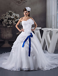 cheap -Ball Gown Wedding Dresses Strapless Chapel Train Organza Satin Strapless with Pick Up Skirt Ruched Cascading Ruffles 2020
