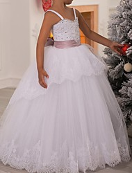 cheap -Ball Gown Floor Length First Communion Flower Girl Dresses - Polyester Sleeveless Spaghetti Strap with Lace