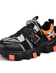 cheap -Men's Faux Leather Spring & Summer Sporty Trainers / Athletic Shoes Walking Shoes Shock Absorbing Color Block Black / Yellow / Orange / Black / Dark Purple / Tassel