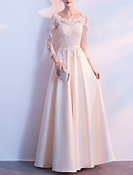 cheap -A-Line Jewel Neck Floor Length Polyester Dress with Lace Insert by LAN TING Express