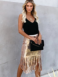 cheap -Women's Bodycon Skirts - Solid Colored Sequins / Tassel Fringe Black Blushing Pink Gold S M L