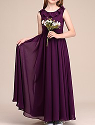 cheap -A-Line Jewel Neck Floor Length Poly&Cotton Blend Junior Bridesmaid Dress with Ruffles