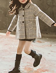 cheap -Kids Girls' Basic Plaid Jacket & Coat Black
