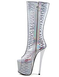 cheap -Women's Boots Stiletto Heel Peep Toe Synthetics Knee High Boots Sweet / British Winter / Fall & Winter White / Wedding / Party & Evening