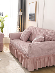 cheap -Big Printed Sofa Cover Stretch Couch Cover Sofa Slipcovers Lace pleats Simple Generous Solid Color Couch with One Free Pillow Case
